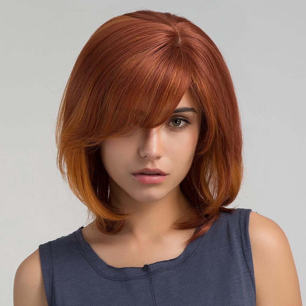 36cm Orange Short Straight Bob Virgin Remy Side Bang Mono Top Capless Human Hair Wig