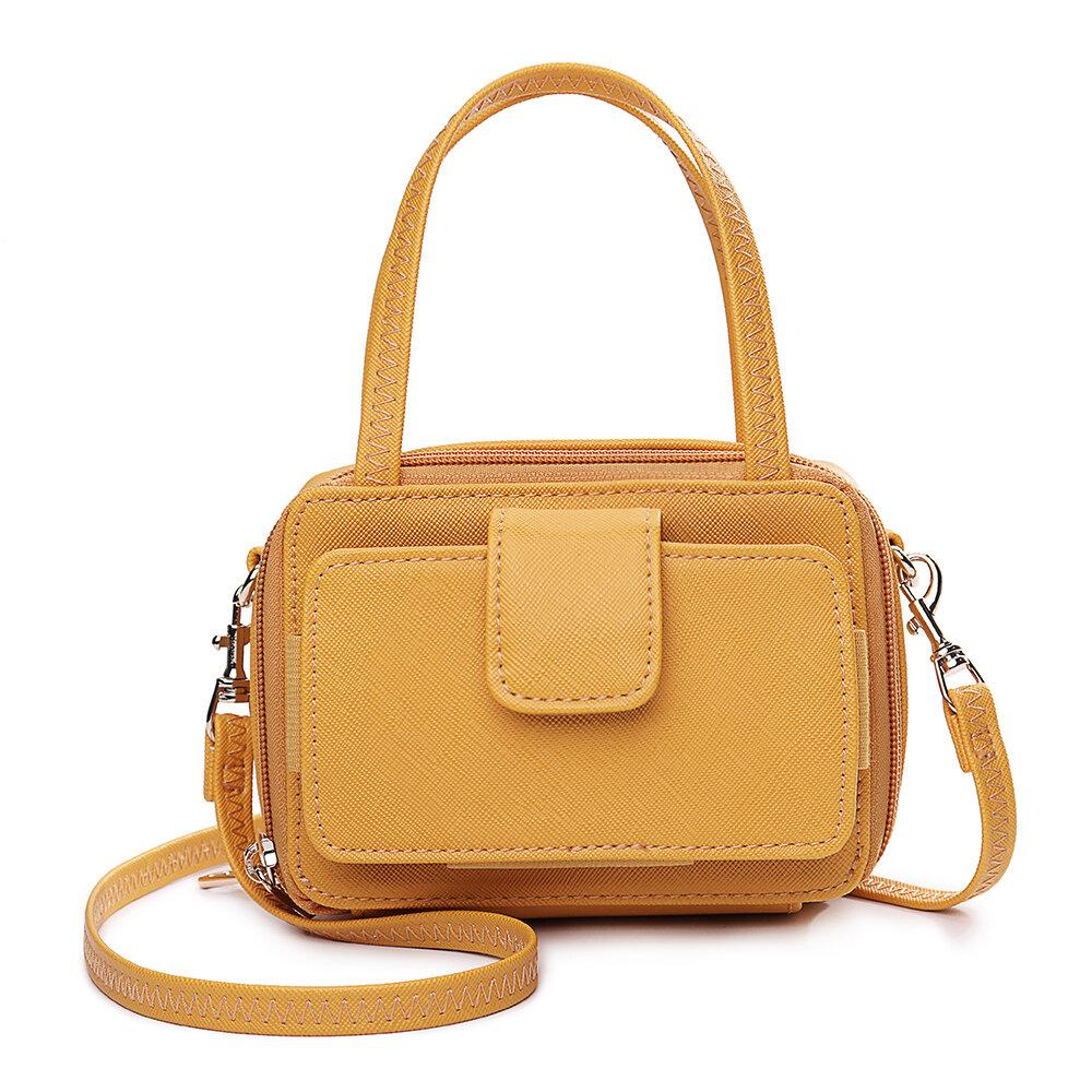 女性スクエアカードホルダー電話バッグマルチレイヤークロスボディバッグ