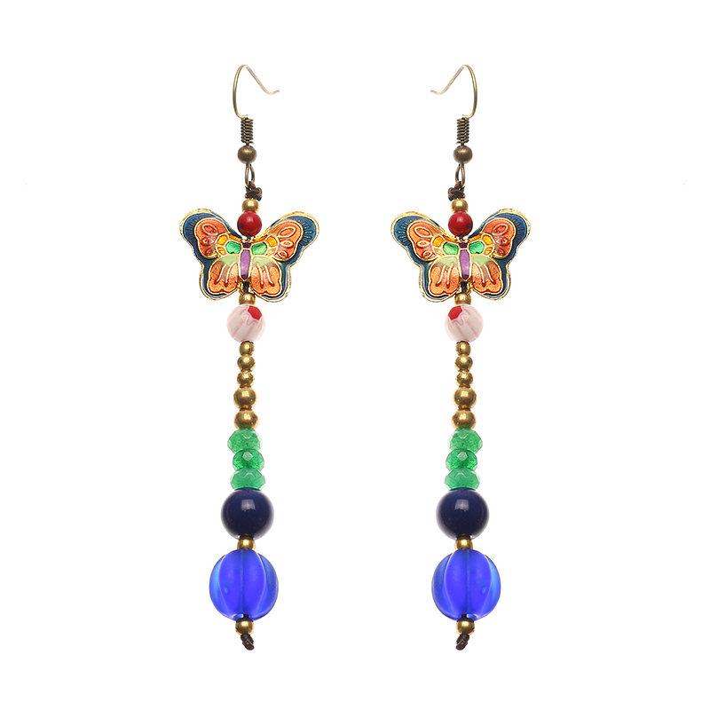 Women's Ethnic Earrings Butterfly Agate Retro Tassel Earrings