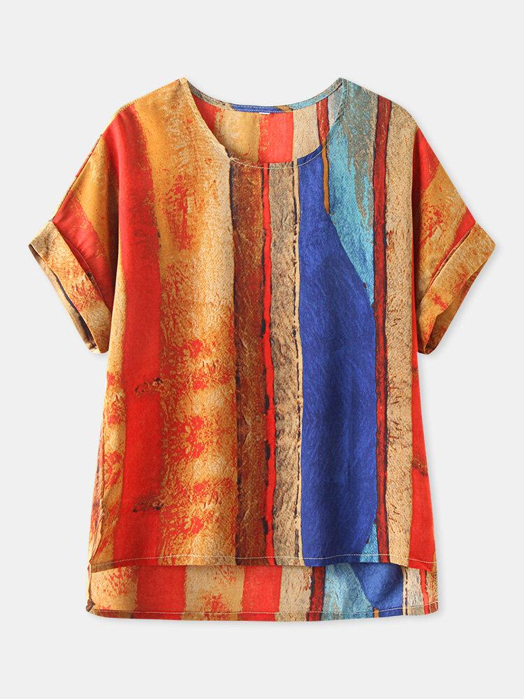 Camiseta de manga corta con estampado de rayas Plus Talla vendimia