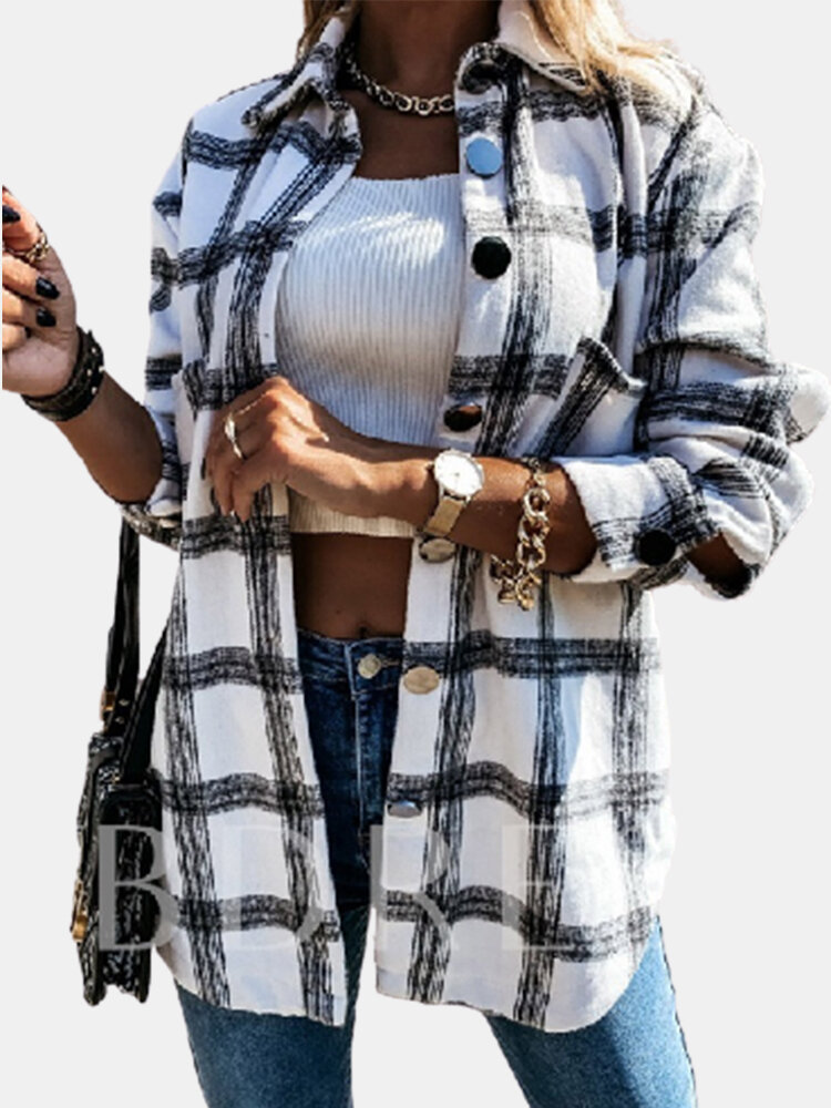 Plaid Printed Long Sleeve Turn-down Collar Blouse For Women