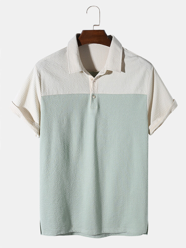 Mens Ribbed Patchwork Texture Short Sleeve Casual Golf Shirt