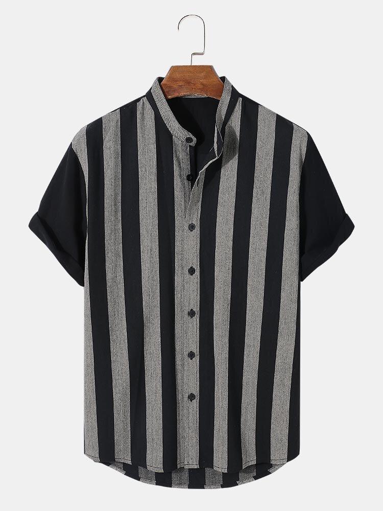 Mens Contrast Stripe Grandad Collar 100% Cotton Casual Short Sleeve Shirts