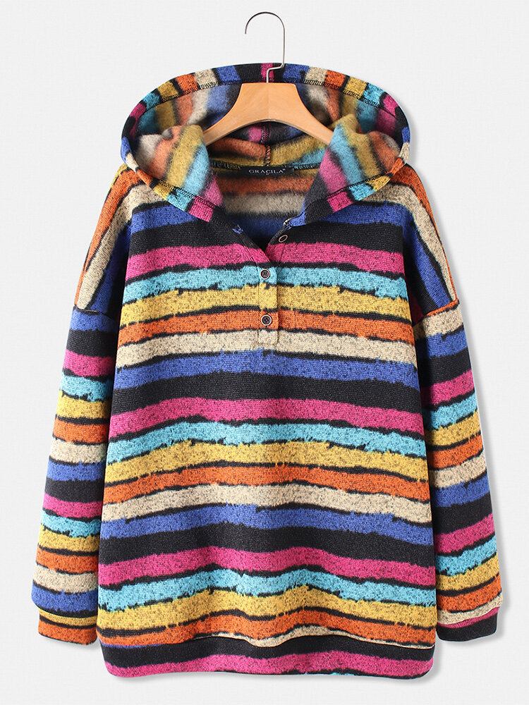 Color Striped Print Long Sleeves Button Hoodies For Women