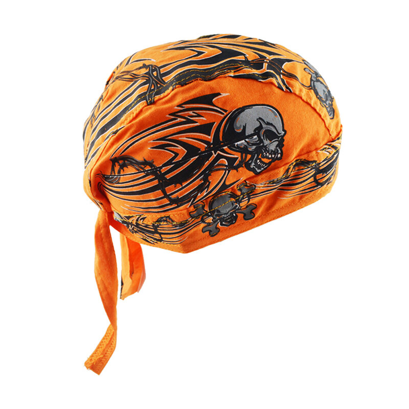 Men Cotton Pirate Hat Breathable Adjustable Cycling Sports Beanie Cap Street Dance Headpiece