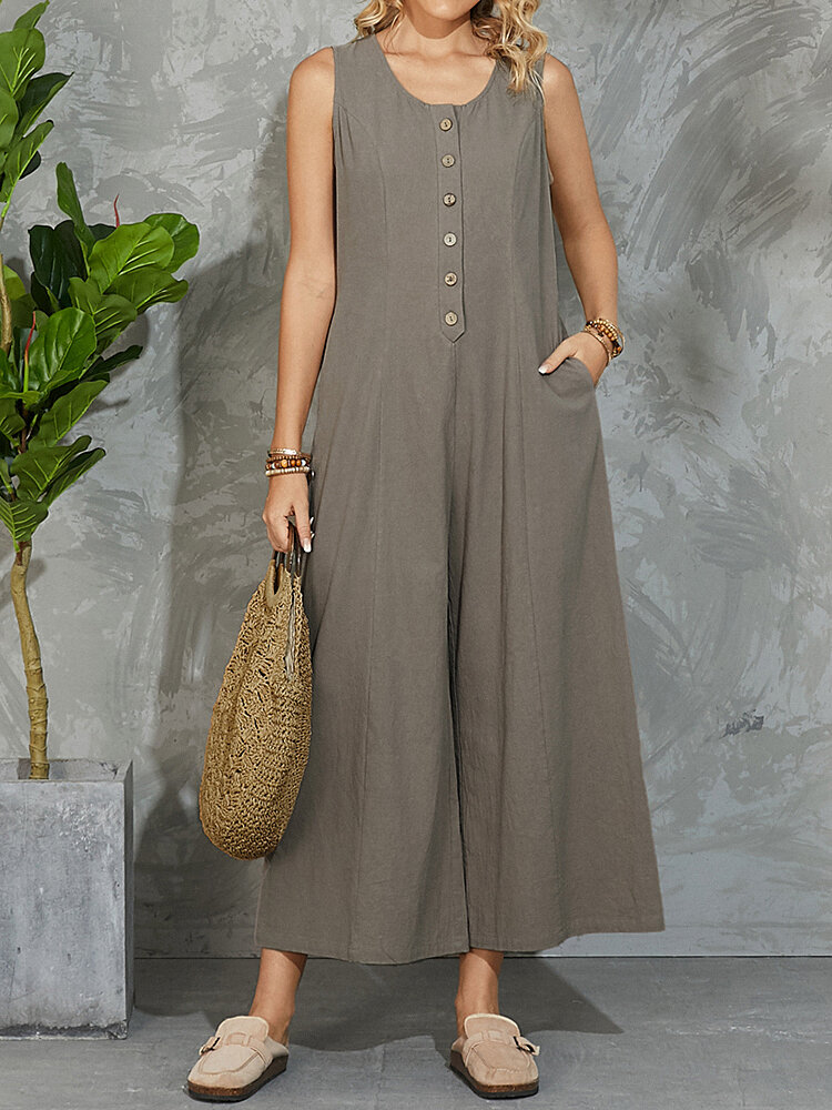 Solid O-neck Button-up Pocket Wide Leg Tank Sleeveless Jumpsuit
