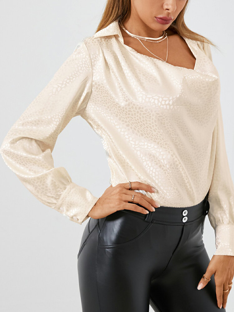 Solid Color Long Sleeve Casual Blouse For Women