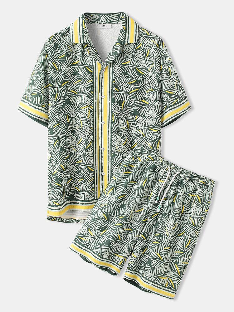 Mens Holiday Tropical Leaves Print Short Sleeve Shirt & Shorts Co-ords