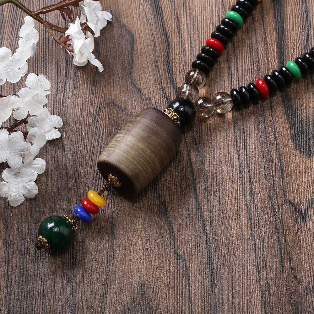 Ethnic Unisex Long Dress Necklace Vintage Cylinder Wenge Bodhi Pendant Wood Beaded Tassel Necklace