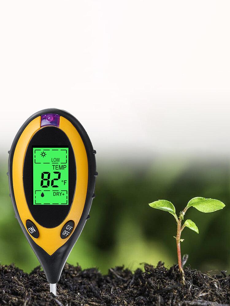 Rilevatore di luce per tester di terreno quattro in uno Misuratore di pH di acidità del suolo Umidità del suolo Termometro