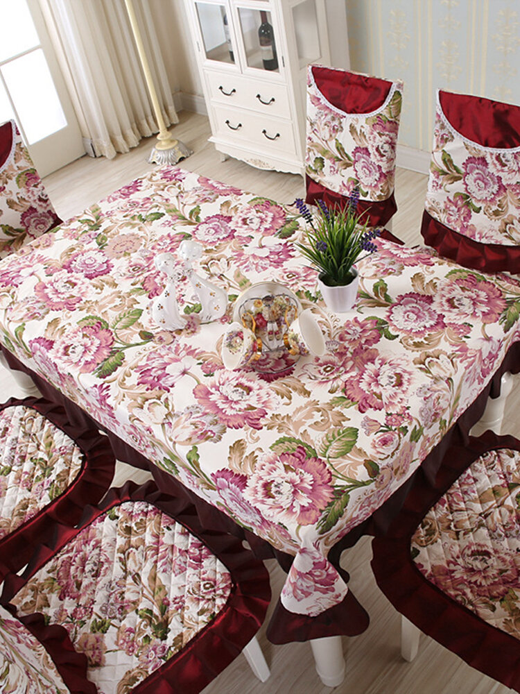 Floral Lace Table Cloth Chair Covers Vintage Dining Set Wedding Party Decor