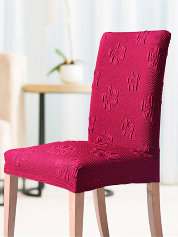 Elastic Polyeser Thick Dining Chair Cover Solid Color Home Hotel Banquet Chair Cover