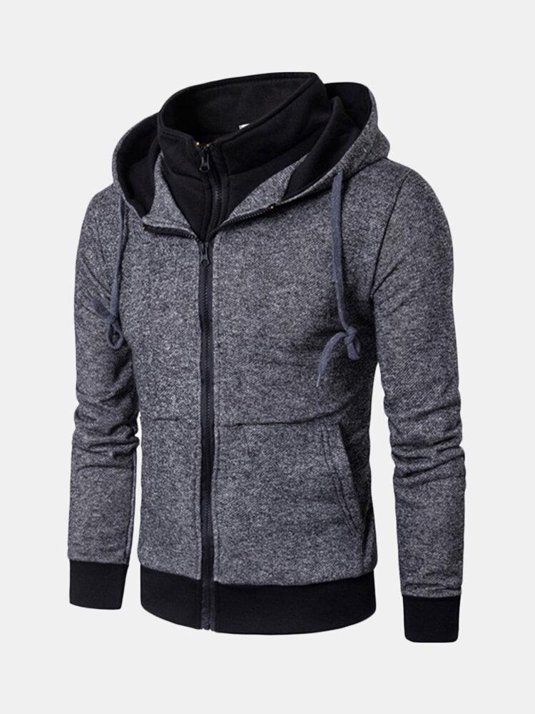 Mens Casual Drawstring Zipper Design Sweatshirt Long Sleeve Solid Color Cotton Hoodies