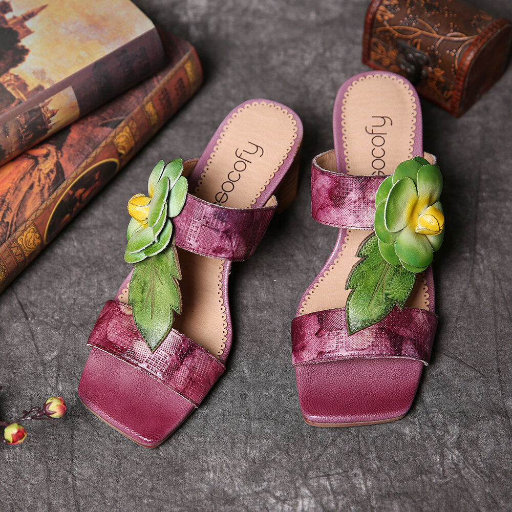 SOCOFY Cow Leather Floral Pattern Slip On Block Heel Sandals