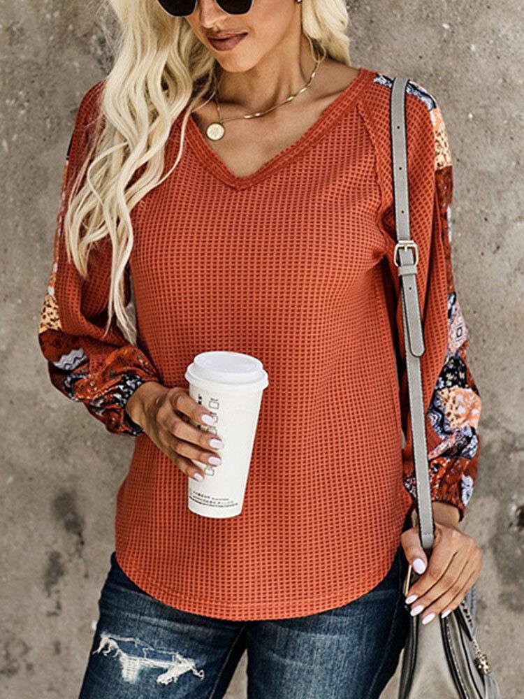 Floral Patchwork Long Sleeve Loose V-neck Women Sweater