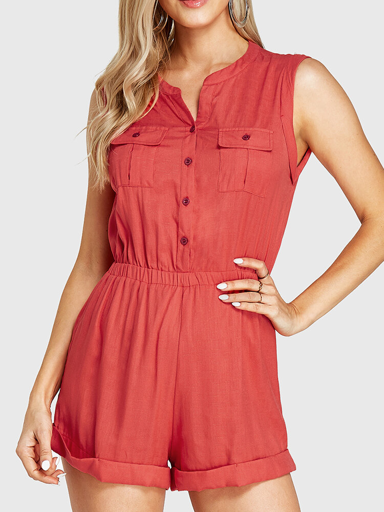 Solid Color Button Pocket Elastic Waist Long Sleeve Casual Romper