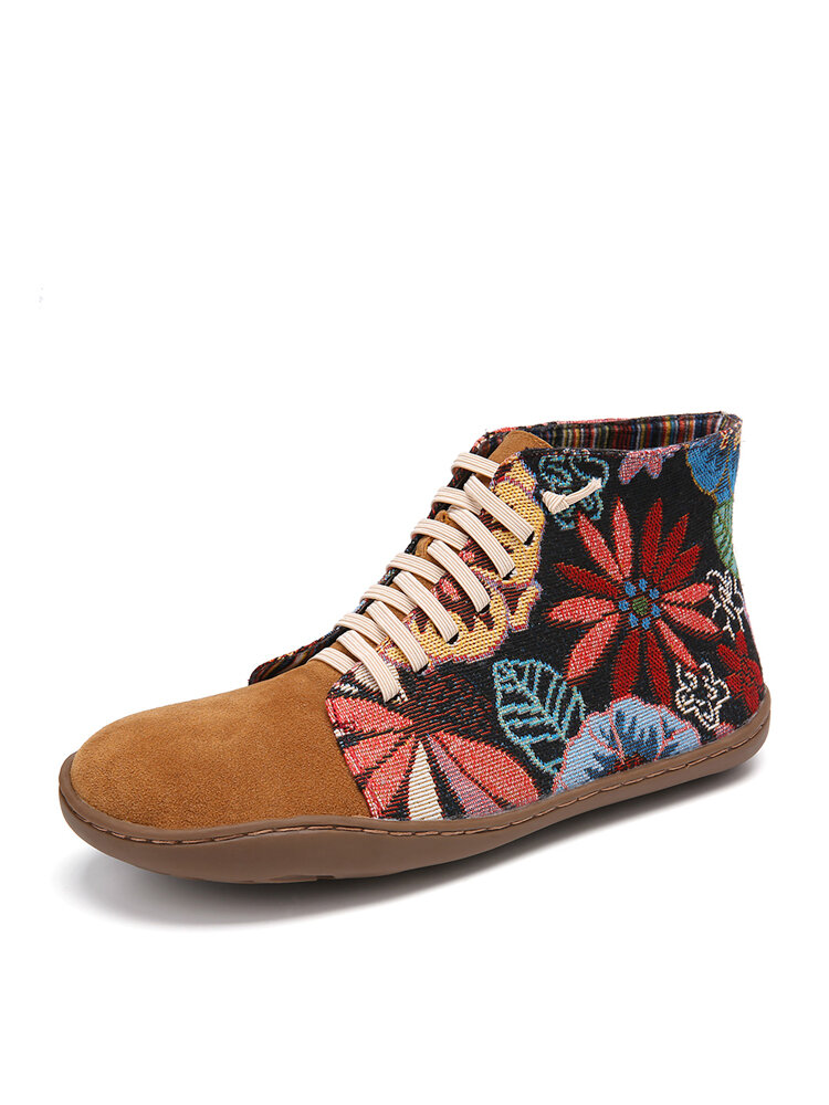 Cloth Pattern Splicing Elastic Band Slip On Comfy Flats Boots