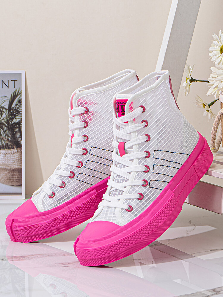 Women Casual Breathable Mesh Lace-up Comfy High-top Skateboard Shoes