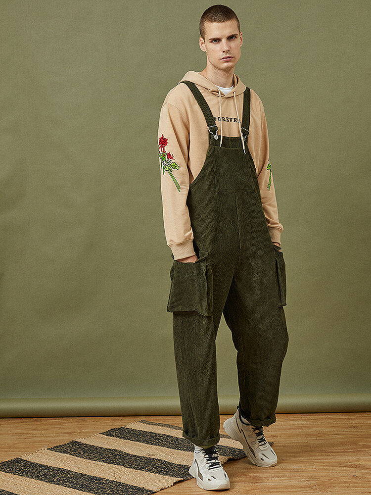 Mens Corduroy Vintage Solid Loose Casual Overalls Jumpsuits With Multi Pockets