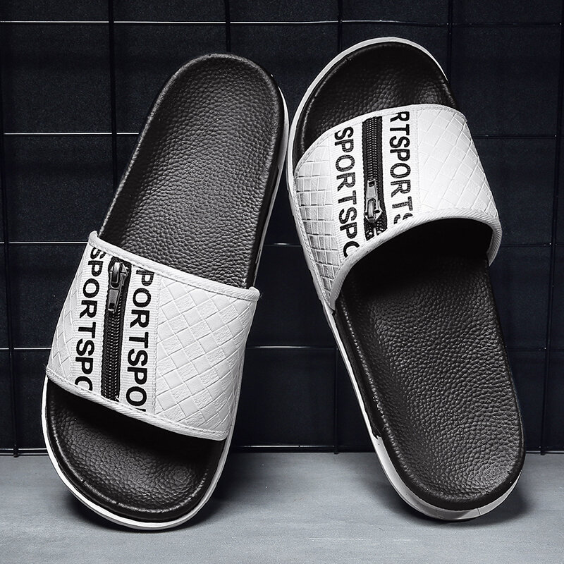 Mens Side Zippers Air Cushioned Sole Slide Beach Water Slippers