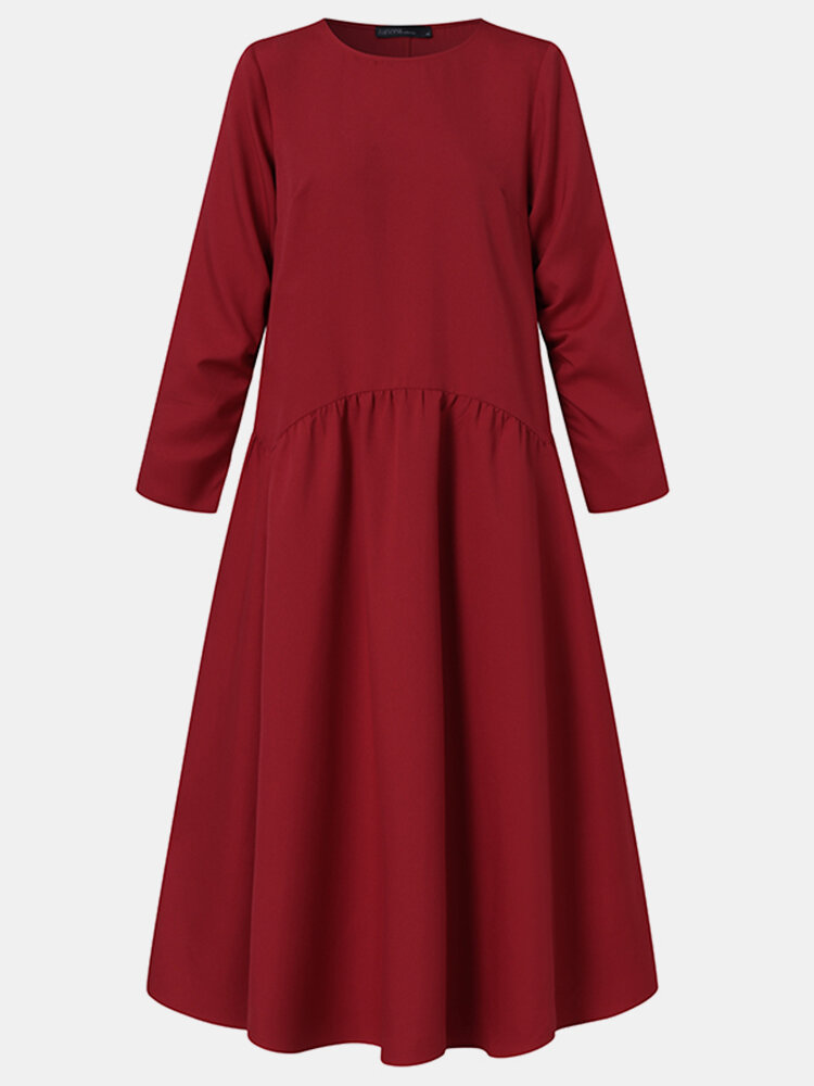 Solid Color Pocket Pleated Long Sleeve Casual Dress for Women