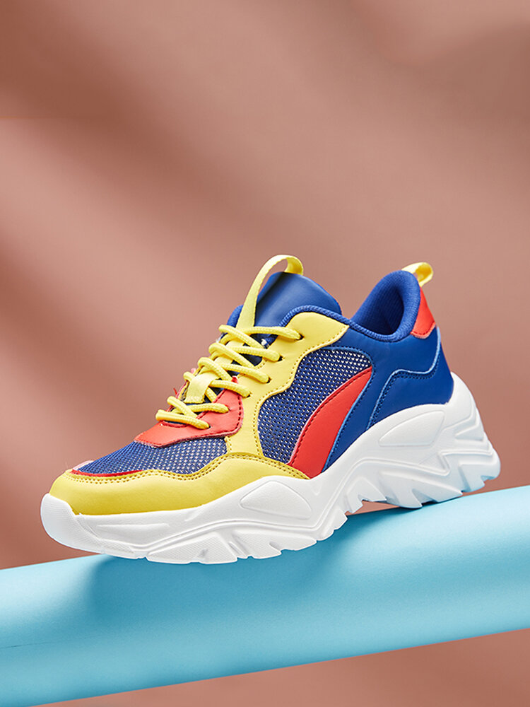 Soft Comfy Mesh Breathable Multi Colored Chunky Sneakers For Women