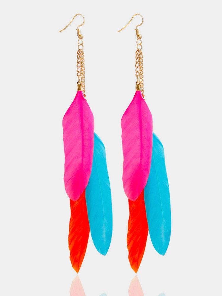 Trendy Tassel Earrings Colorful Feather Long Earrings