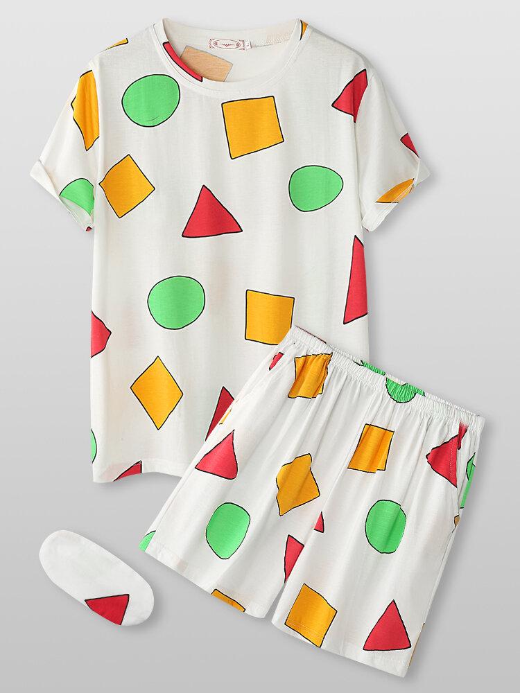 3Pcs Women Geometry Print Short Sleeve Pajamas Sets With Eye Cover