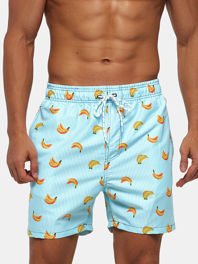 Men Stripe Fruit Pattern Surfing Shorts Drawstring Holiday Casual Shorts with Multi Pockets