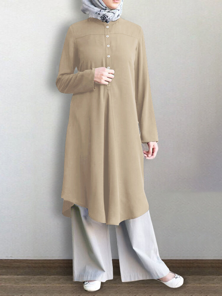 Solid Color Button Long Sleeve Pleated Casual Blouse Dress For Women