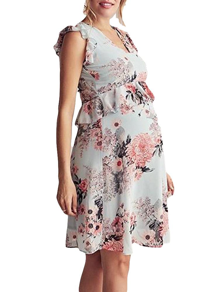 Flower Print Comfy Flying Sleeves Big Swing Maternity Dress