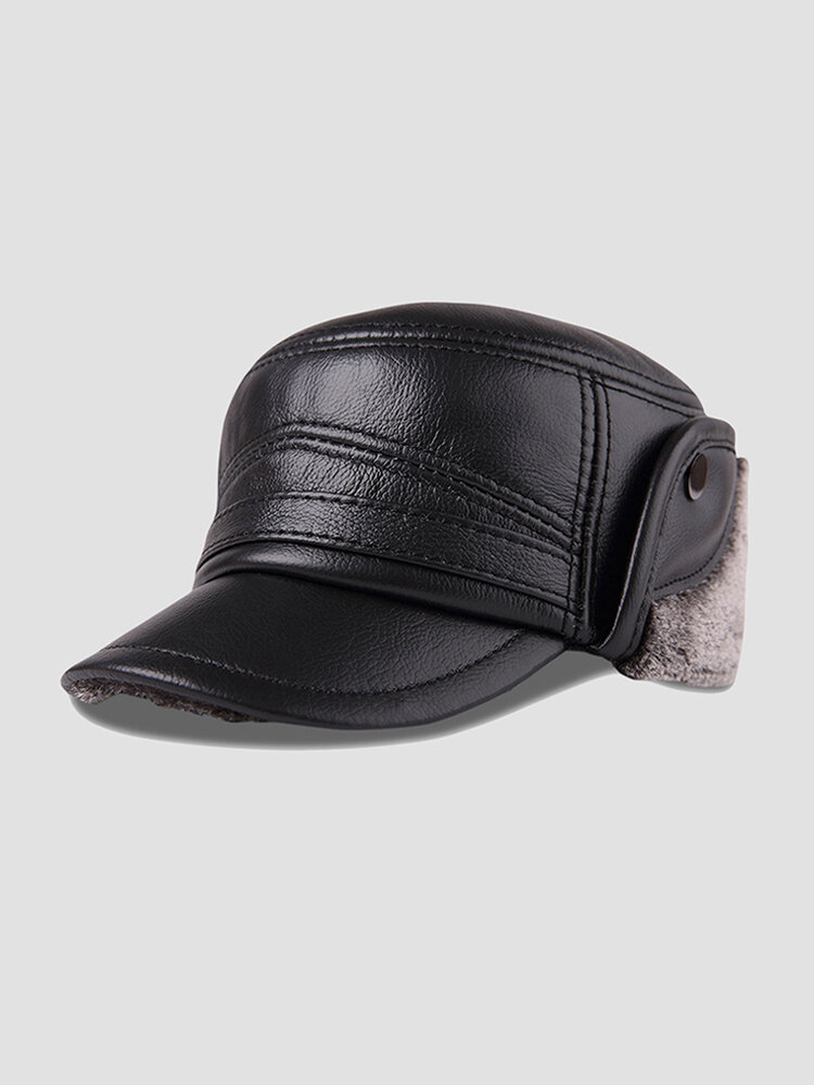 Trapper Hats Men's Thick Warm Outdoor Earmuffs Cotton Hat Leather Hats
