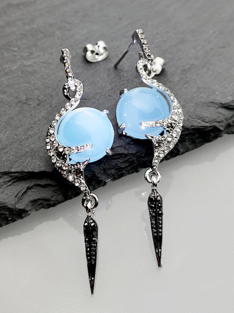 Vintage Peacock Jade Earrings Geometric Metal Rhinestone Feather Pendant Long Earrings