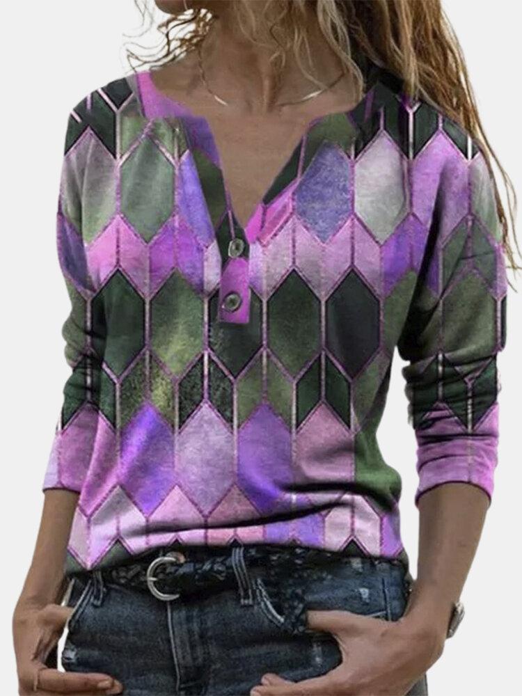 Geometrisch bedruckte Langarm-Reverskragenbluse für Damen
