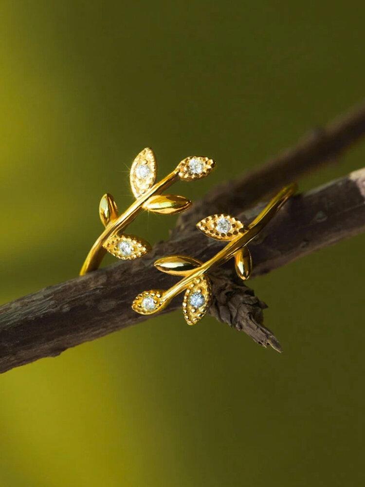 Vintage Diamond Leaf Cross Opening Metal Artificial Gemstone Rings