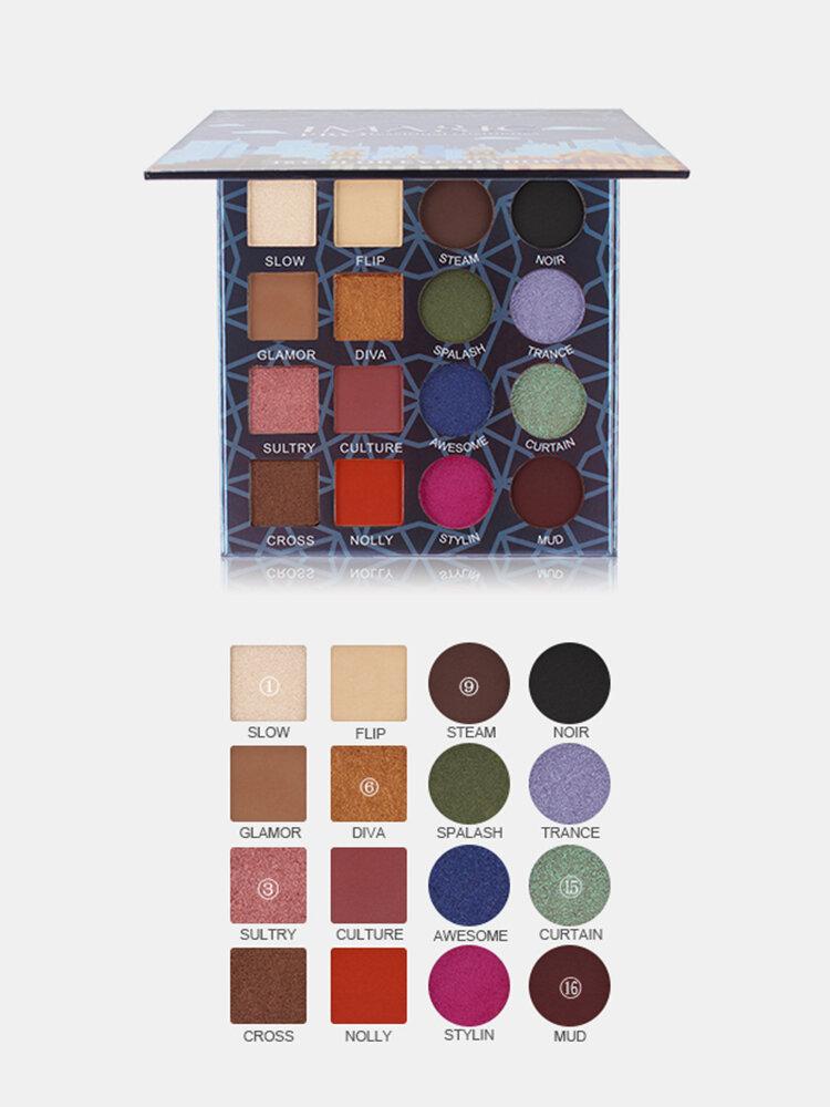 IMAGIC Professional Shimmer Matte Paleta de sombras de ojos 16 colores Natural Impermeable Sombra de ojos duradera