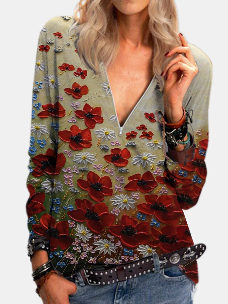 Calico Printed Long Sleeve V-neck Zip Front Blouse For Women