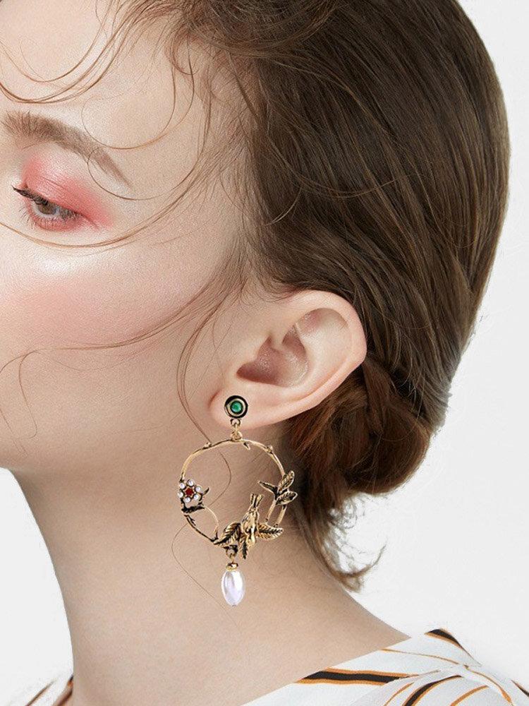 Vintage Metal Geometric Stereoscopic Bird Earrings Carved Garland Pearl Pendant Earrings