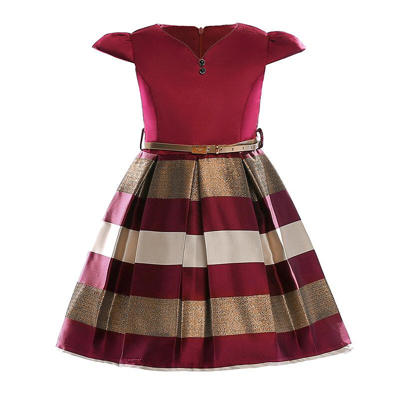 vendimia Fiesta formal de niñas a rayas Vestido Concurso de graduación Boda Dama de honor Florista Vestido