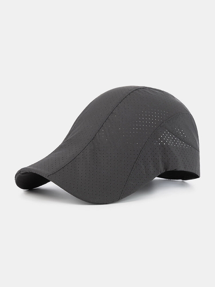 Men Polyester Solid Color Mesh Breathable Outdoor Sunshade Berets Flat Caps