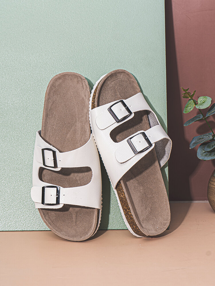 Women Large Size Casual Buckle Comfortable Beach Stripe Slippers