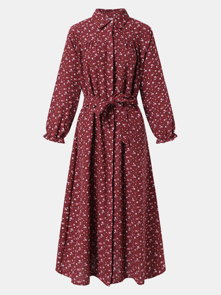 Floral Print Puff Long Sleeves Maxi Dress With Belt
