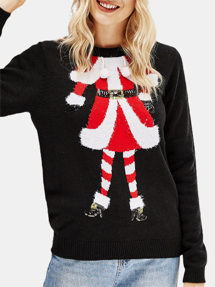 Santa Christmas Print Pullover Knit Sweater For Women