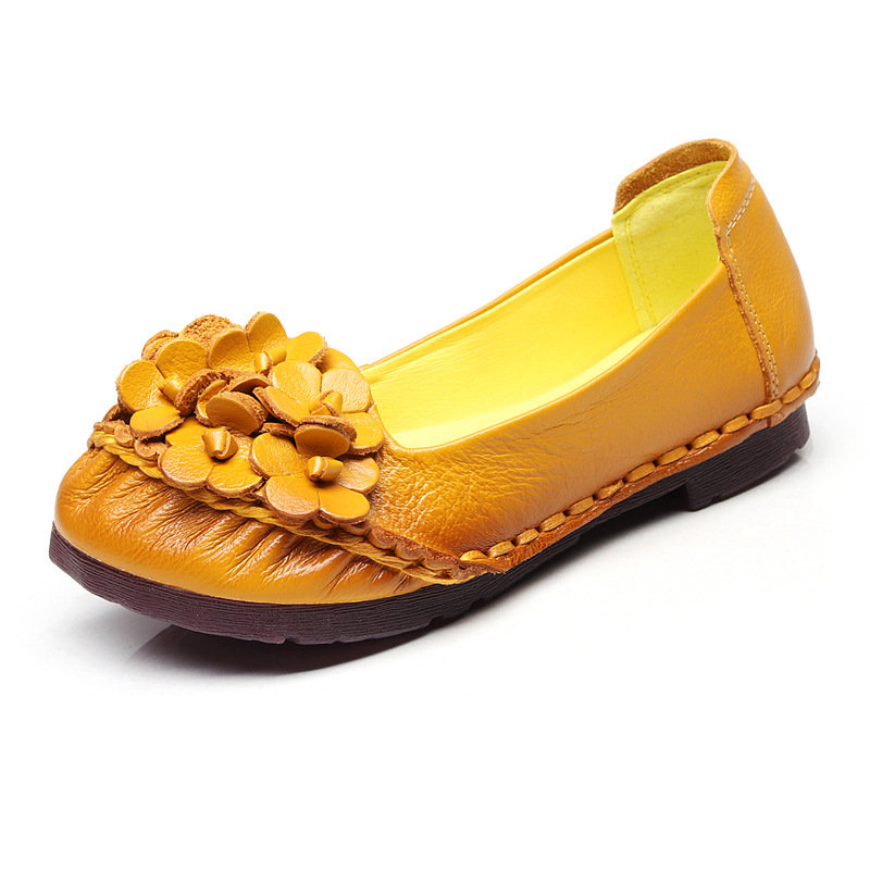Handmade Flower Leather Retro Casual Flat Shoes