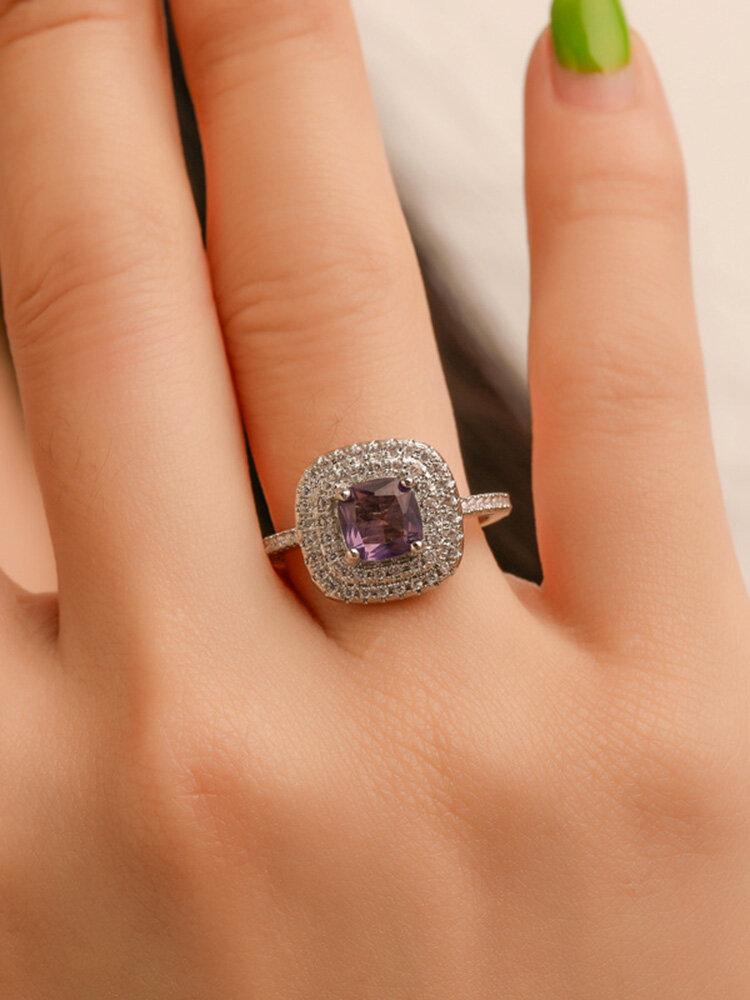 Luxury Geometric Square Rhinestone Ring Temperament Micro-inlaid Zircon Ring Trendy Jewelry
