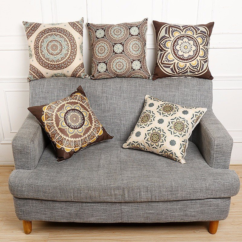 Vintage Bohemian Style Cotton Linen Throw Pillow Case Waist Cushion Cover Bags Home Sofa Car Decor