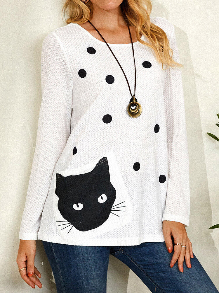 Cat Polka Print Pocket Long Sleeve Casual Blouse For Women