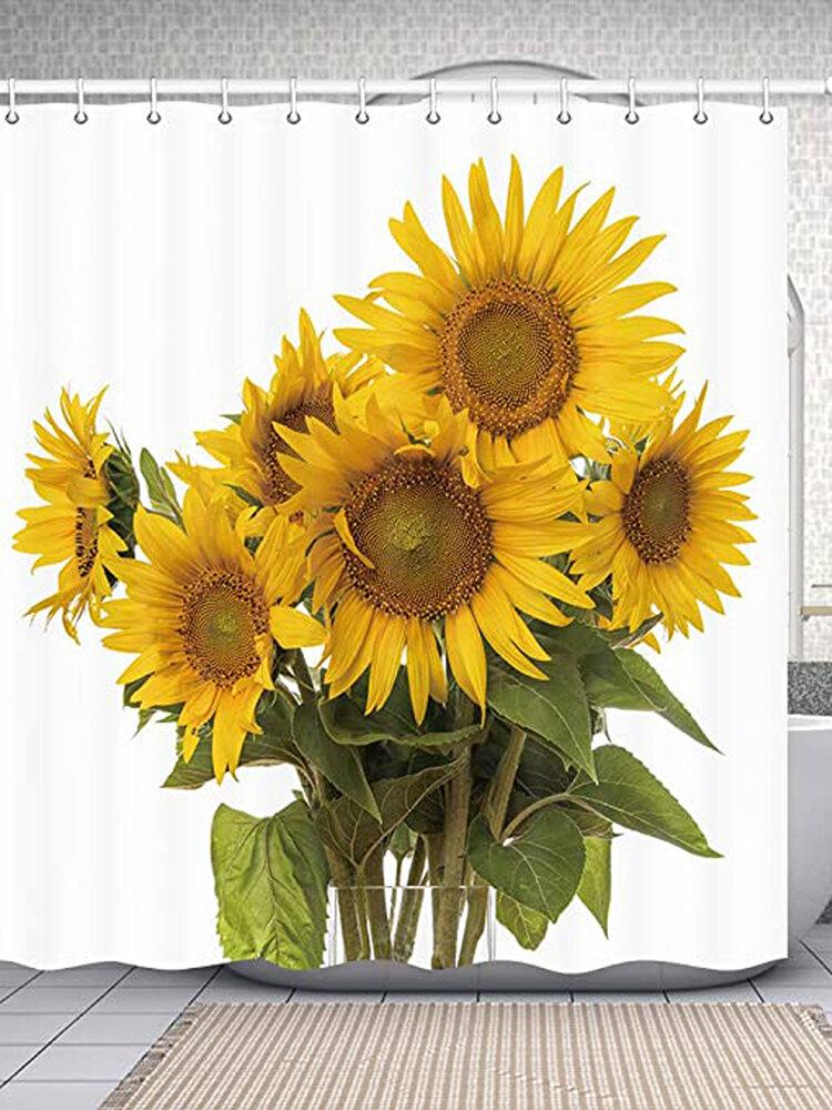 180X180cm Sunflower Polyester Printing Waterproof Mildew Shower Curtain
