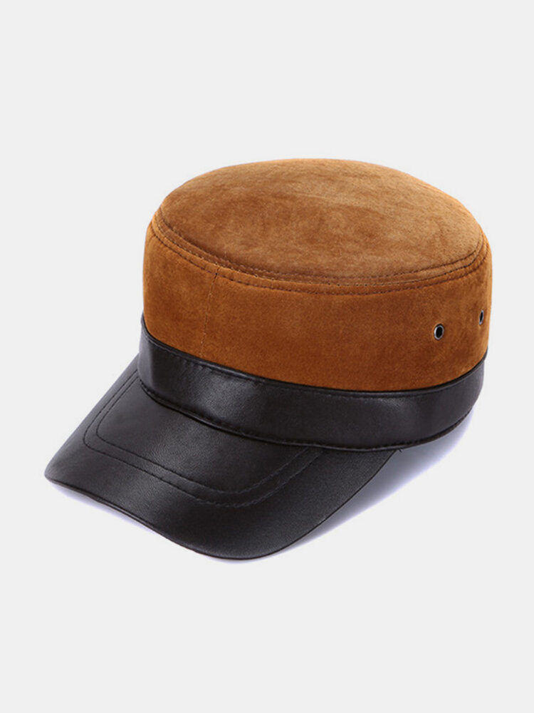 Men Durable Genuine Leather Breathable Flat Cap Winter Windproof Warm Hat Casual Outdoor Sun Hat