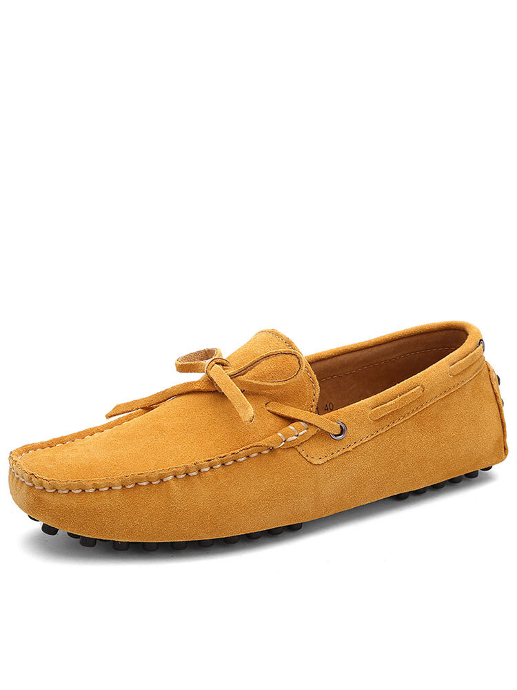 Men Knotted Pure Color Wearable Slip On Casual Suede Loafers